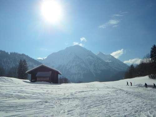 Wintry Backlighting Winter Snow Allgäu Mountains