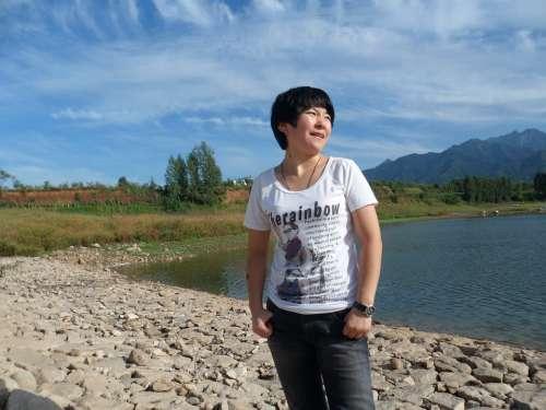 Woman Chinese Female Landscape Lady Lake Blue Sky