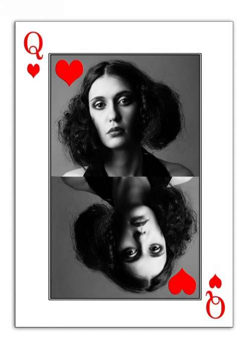 Woman Face Playing Card Map Ace Heart Body Play