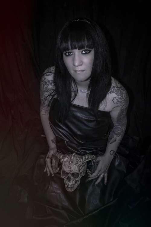 Woman Model Girl Tattoo Necromancy Dress Black