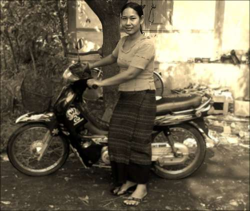 Woman Motorbike Motorcycle Smile Female Asian