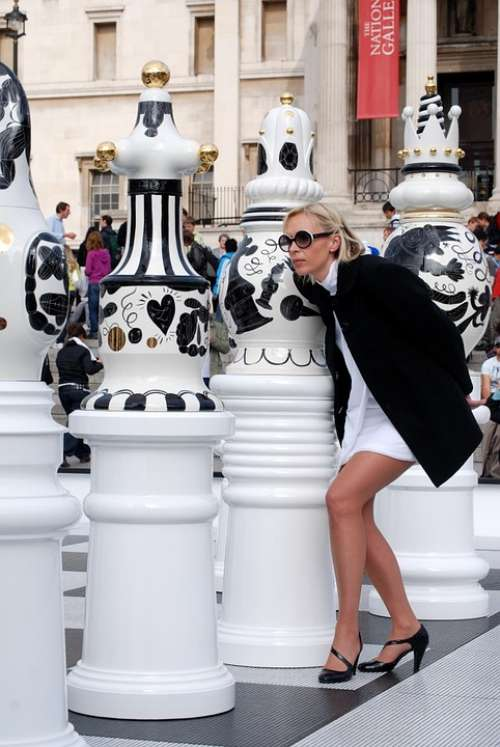 Woman Lady Chess Pieces White And Black Queen