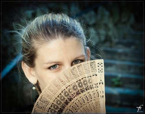 Woman Face Beautiful Fan Portrait Person