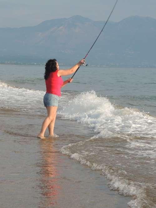 Woman Fishing Sea Beach Sunset Greece