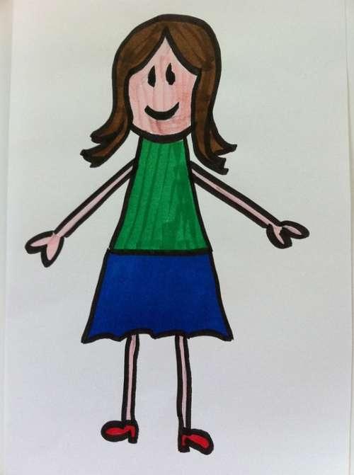 Woman Kindergarten Stick Figure