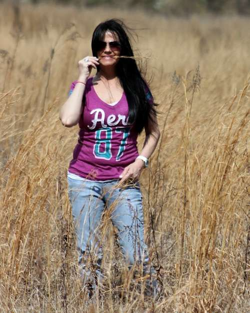 Woman Hay Countryside Field Country Girl