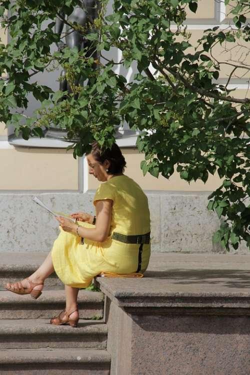 Woman Shadow Read Yellow Dress Summer