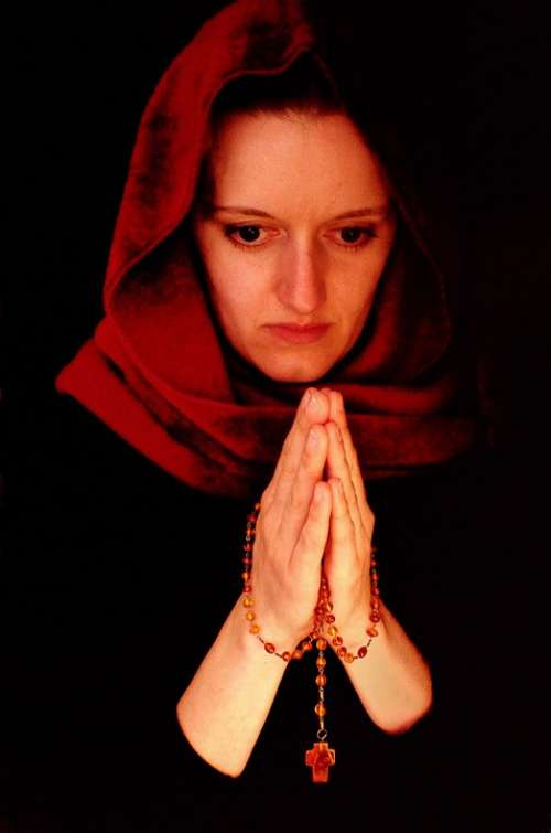 Woman People Prayer Religion Portrait Cross