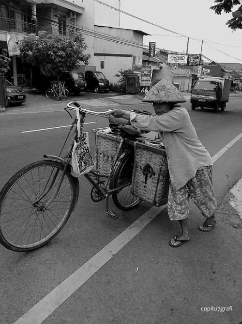 Women Bycicle Road Old Elderly Street Asia China