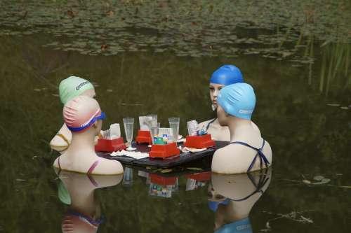 Women Talk Gambling Group Swim Swim Cap Four