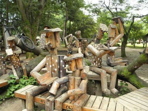 Wood Sculpture Nature Bench Chair Works Nami