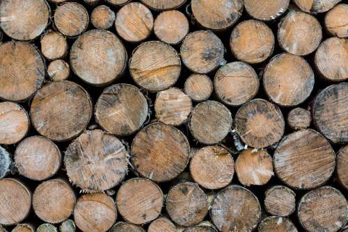 Wood Round Spar Brown Winter Cold Stacked Stack