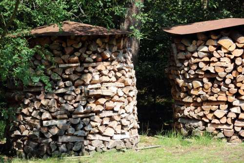 Wood Holzstapel Firewood Stacked Up