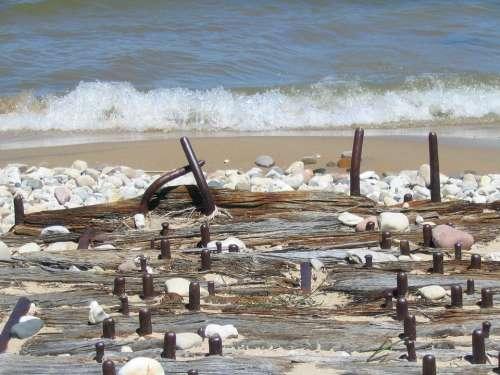 Wood Bindings Weathered Shore Texture Lake Old