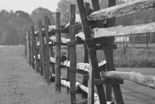 Wood Fence Splitrail Fence Rural Farm Fields