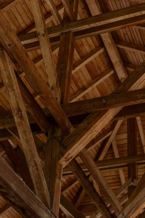 Wooden Attic Wood Roof Past History Castle