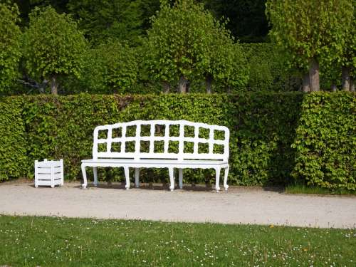 Wooden Bench White Rest Sit Click Guests Can Enjoy