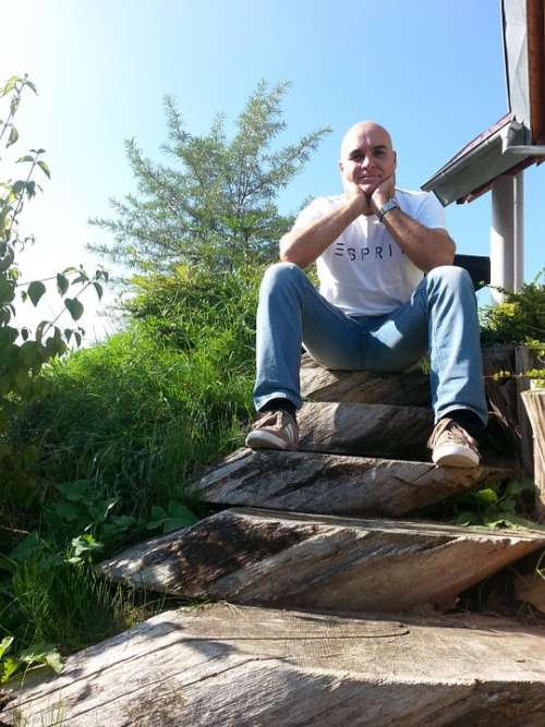 Wooden Ladders Man Sitting Bald Head