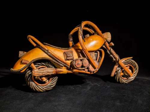 Wooden Motorcycle Wood Model Art From Thailand