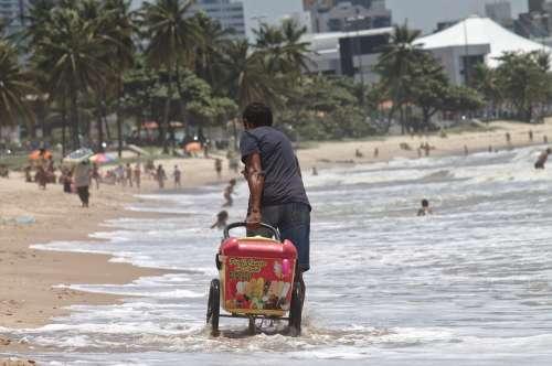 Work Beach Seller On Wheels Popsicle João Pessoa