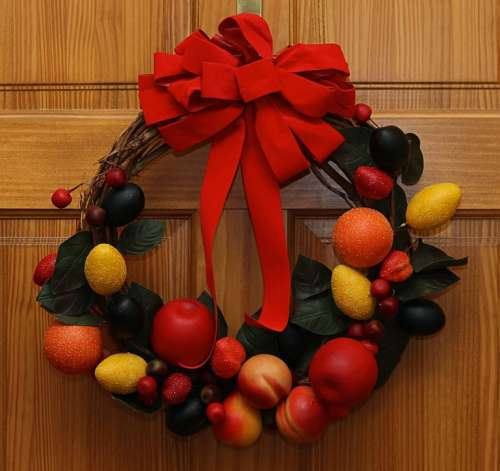 Wreath Christmas Fruit Artificial Manufactured