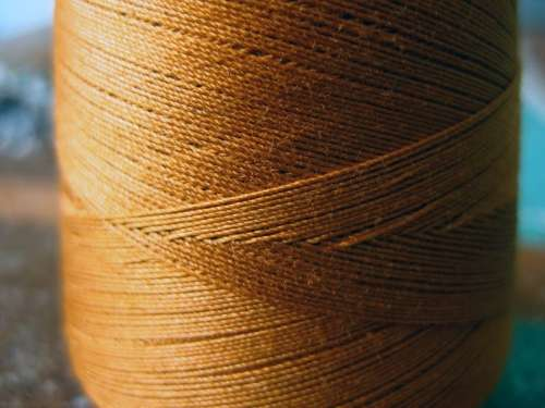 Yarn Thread Cord Sew Bobbin Coiled Yellow Brown