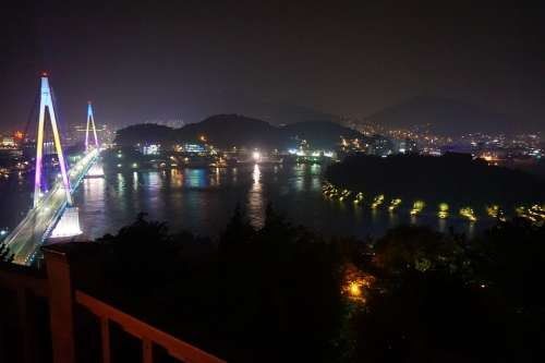 Yeosu Stone Mountain Bridge Night View