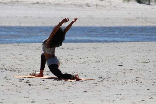 Yoga Woman Beach Relaxation Sand Sporty Beautiful
