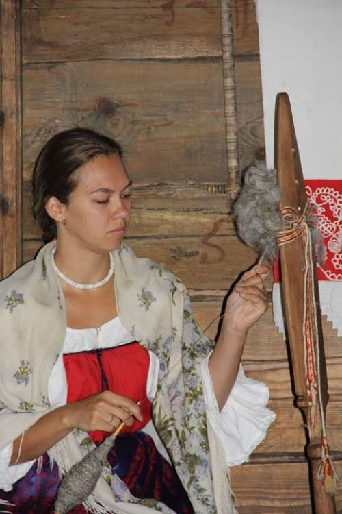 Young Woman Arts And Crafts Fon Traditional Costume
