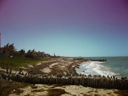 Yucatan Mexico Sea Ocean Water Waves Sky Clouds