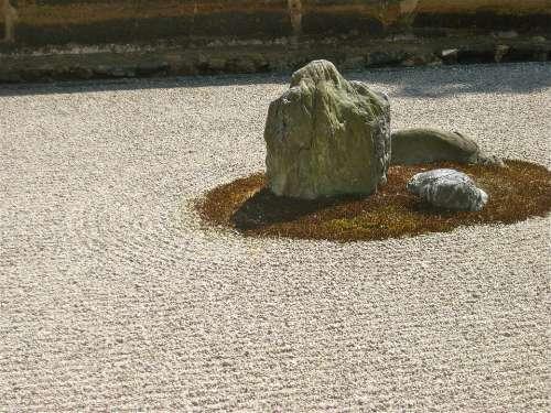 Zen Stone Garden Japan Japanese Garden Pebble