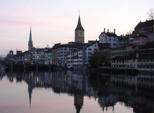 Zurich Limmat City River Sunset Town On The River