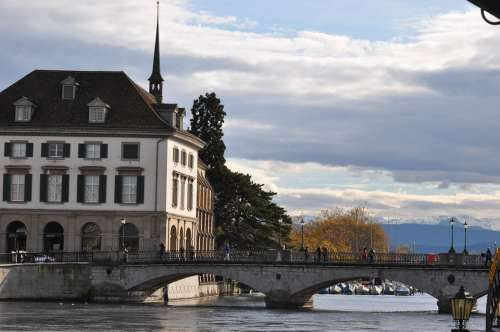Zurich River Bridge Switzerland Town Old