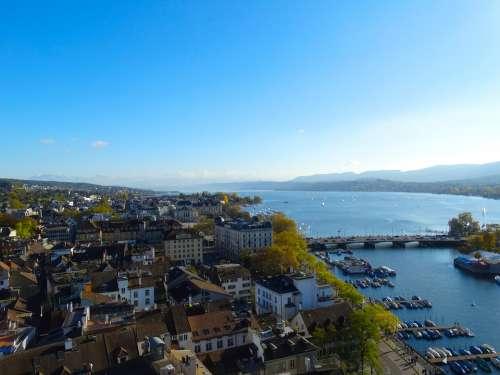Zurich City Aerial View Town Center