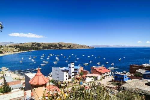 View of Lake Titicaca, Copacabana, Bolivia
