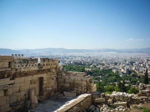 Looking out from Akropolis, Athens, Greece.