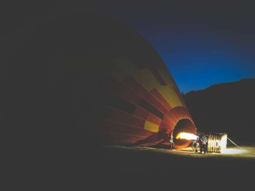 It's 5am in the morning and we're getting ready for our ride up into the sky. This is our hot air balloon getting filled up in Cappadocia, Turkey.