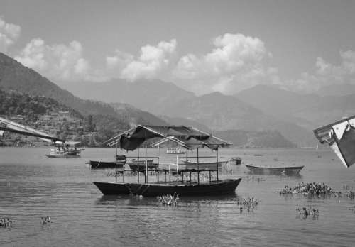 Boat on Fewa Lake, Pokhara, Nepal.