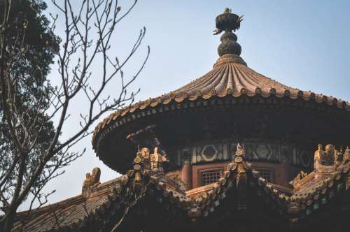 Top of a pavilion in the Forbidden City, Beijing, China.