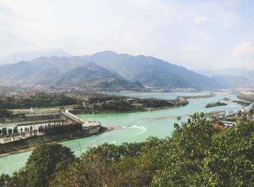 View of the dam, Dujiangyan, Sichuan, China.