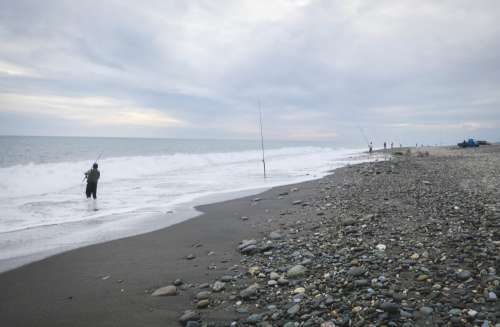 Fishing in the Pacific Ocean, Taitung, Taiwan.