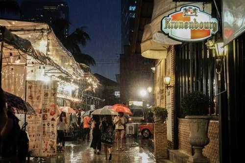 Rain in Bangkok, Thailand.