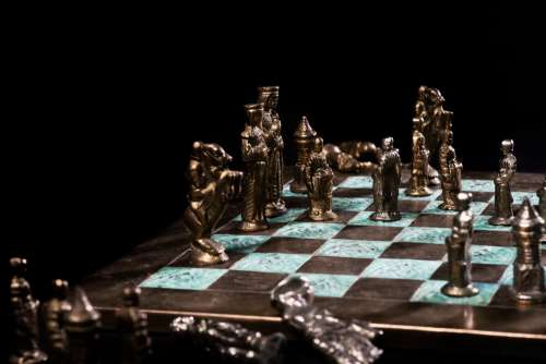 A Beautiful Chess Set Mid-Game Photo
