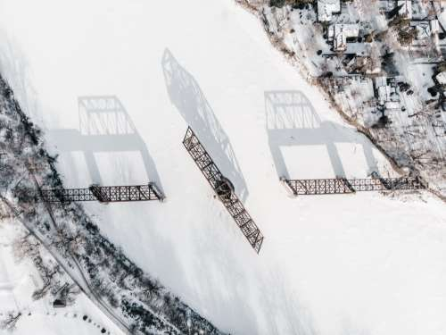 Aerial View Of A Swing Bridge Frozen In Time Photo