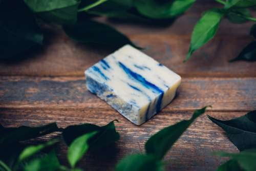 All Natural Soap Bar With Blue Photo