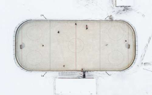An Overhead View Of A Small Town neighborhood Hockey Rink Photo