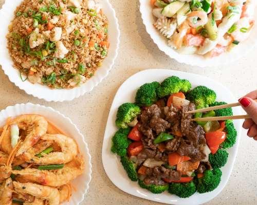 Asian Cuisine Rice Shrimp Seafood Beef Photo