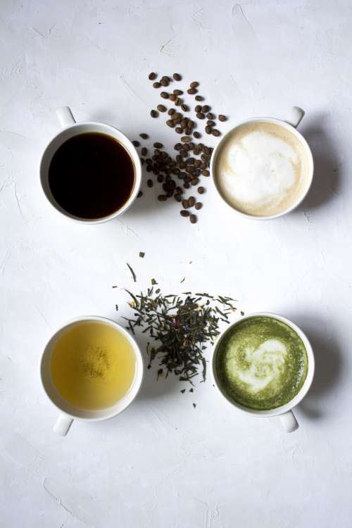 Assorted Hot Beverages Tea Matcha Coffee Photo