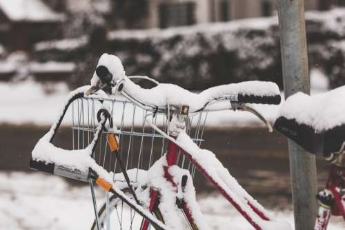 Bicycle Covered In Snow Photo