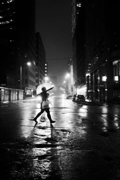 Black And White City Umbrella Photo